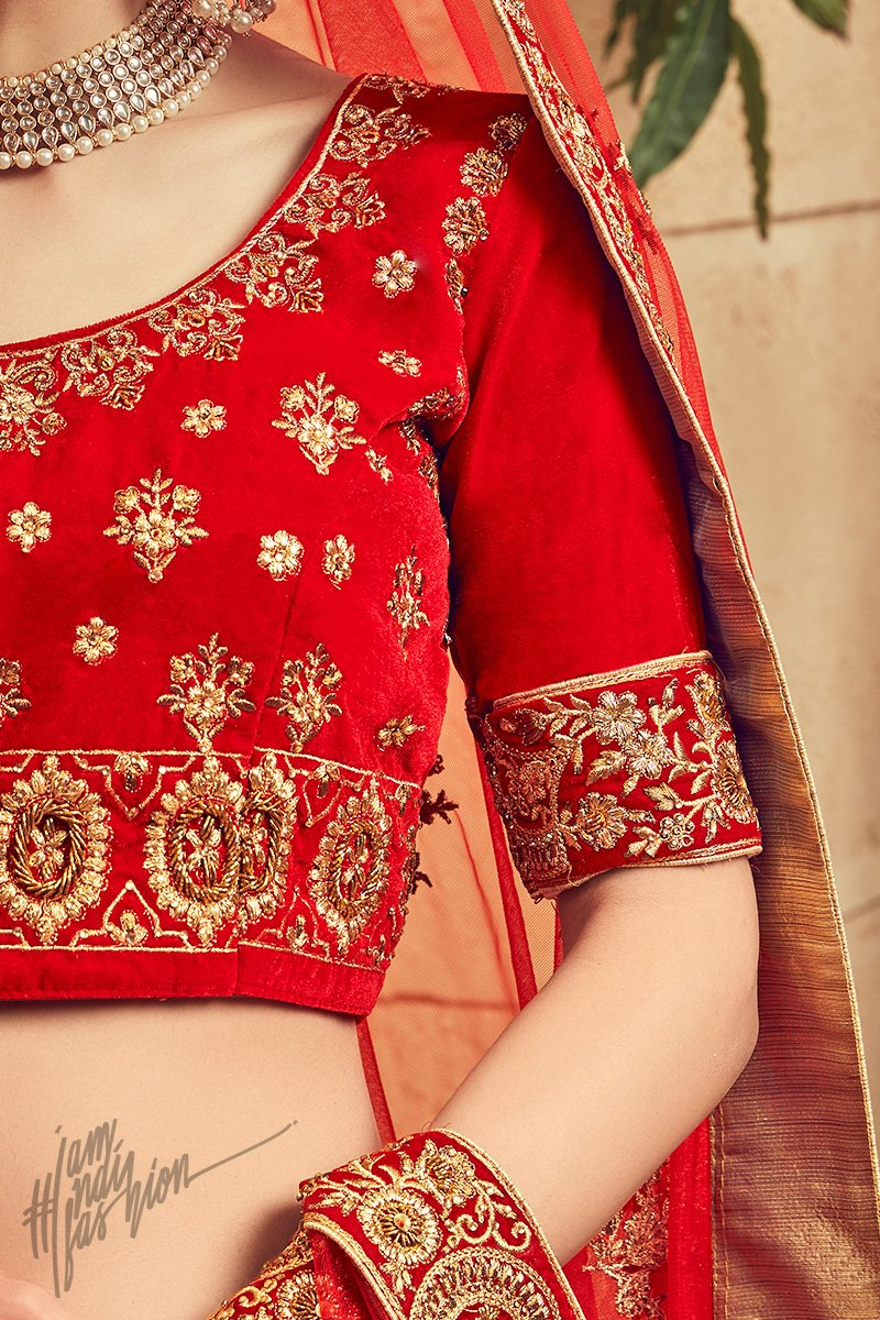 Crimson Red Velvet Bridal Lehenga Set