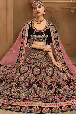 Rasin Purple and Pink Velvet Bridal Lehenga Set