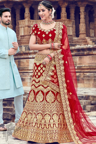 Maroon Velvet Wedding Lehenga Set