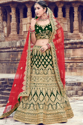 Green Velvet Wedding Lehenga Set