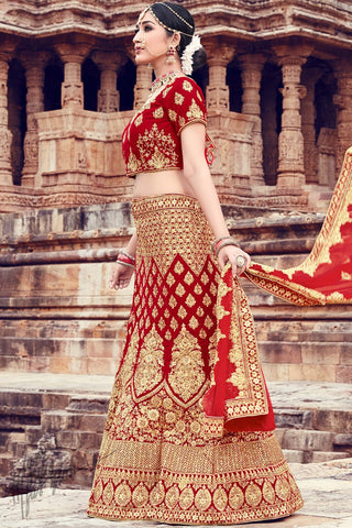 Red Velvet Wedding Lehenga Set