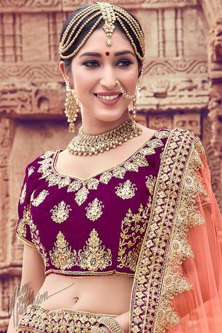 Wine and Peach Velvet Wedding Lehenga Set