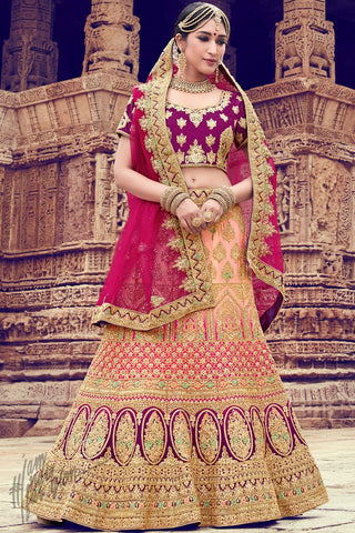 Peach and Wine Nylon Satin Wedding Lehenga Set