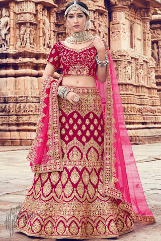 Dark and Light Pink Velvet Wedding Lehenga Set