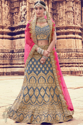 Gray and Pink Velvet Wedding Lehenga Set