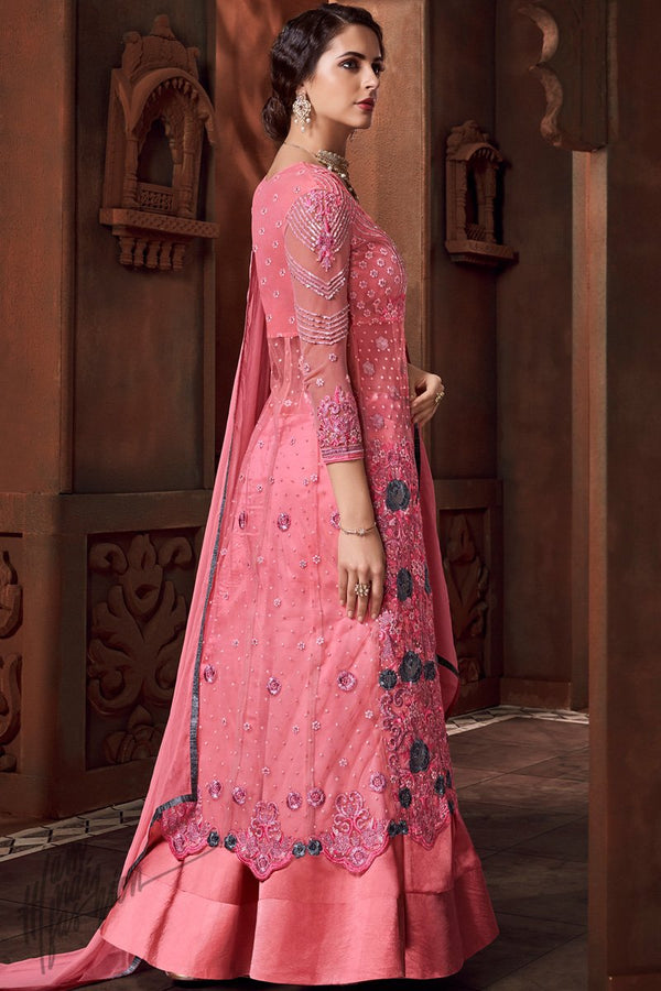 Pink Heavy Net and Satin Lehenga Style Suit