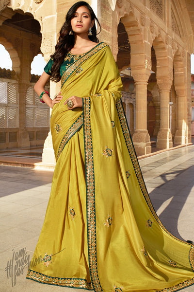 Mustard and Bottle Green Dola Silk Saree