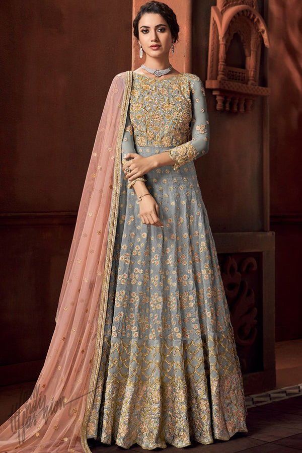 Gray and Light Peach Net Anarkali Suit