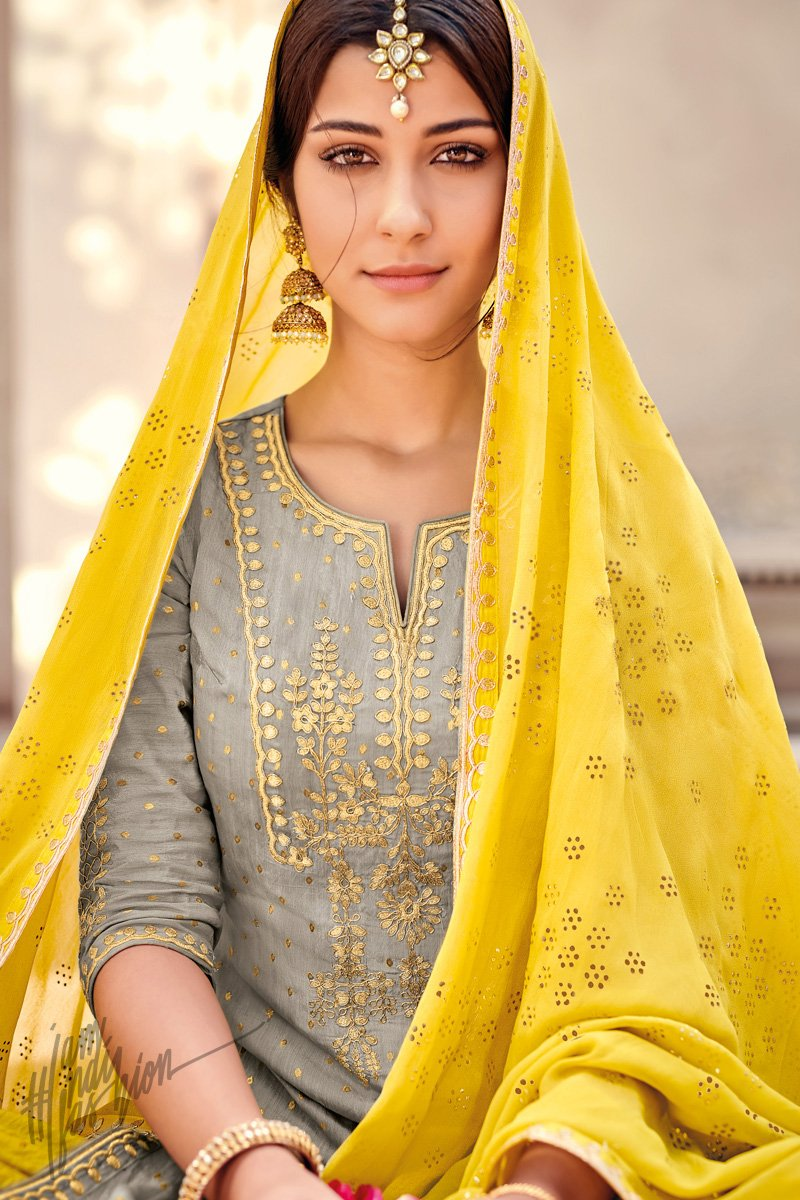 Gray and Sunflower Yellow Banarasi Silk Palazzo Suit