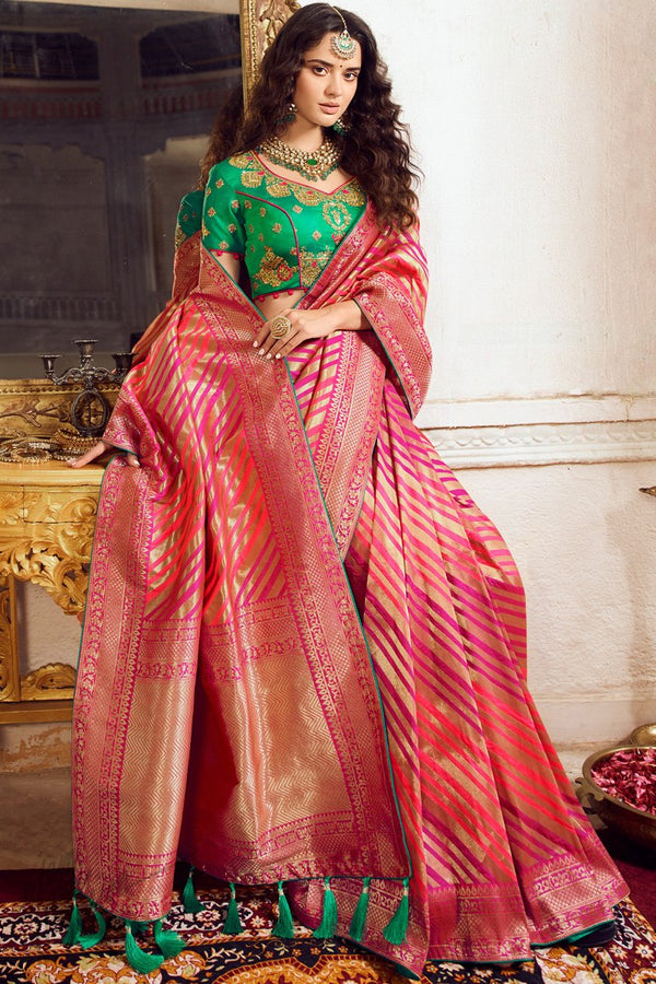 Pink and Sea Green Banarasi Silk Saree