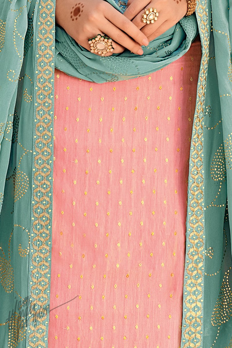 Baby Pink and Teal Blue Banarasi Silk Palazzo Suit