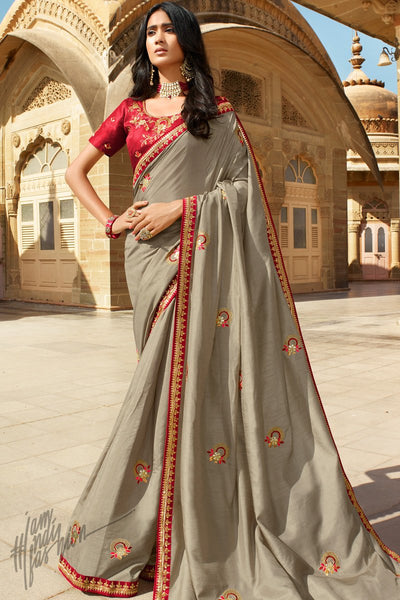 Gray and Red Dola Silk Saree