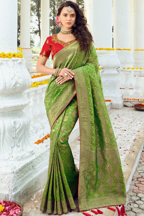 Lime Green and Red Banarasi Silk Saree