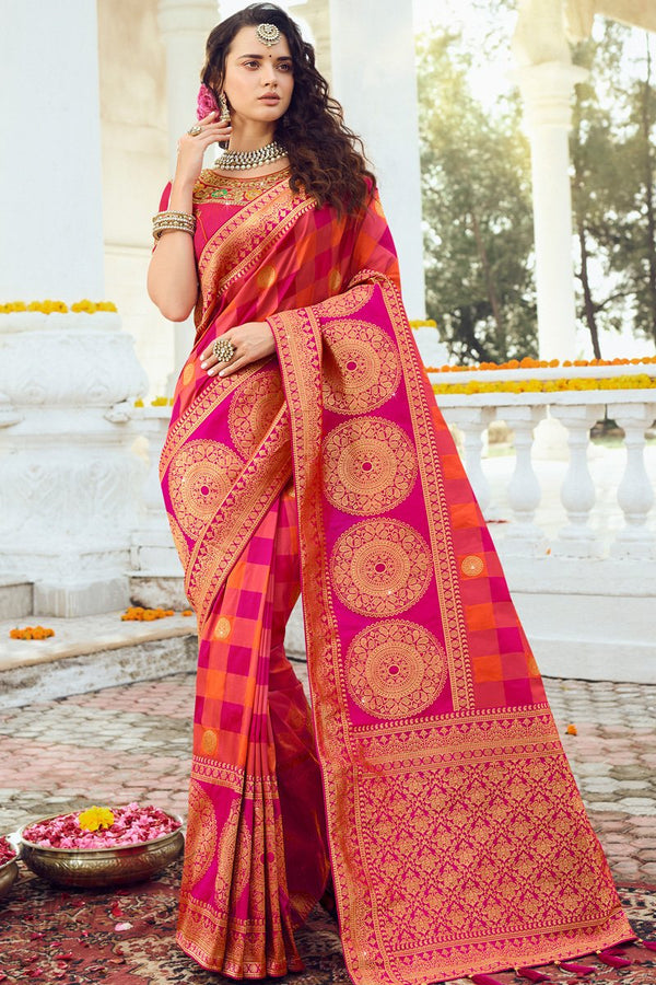 Medium Violet Red Banarasi Silk Saree