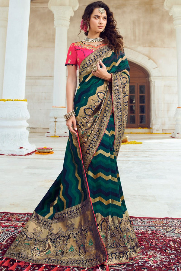 Dark Sea Green and Deep Pink Banarasi Silk Saree