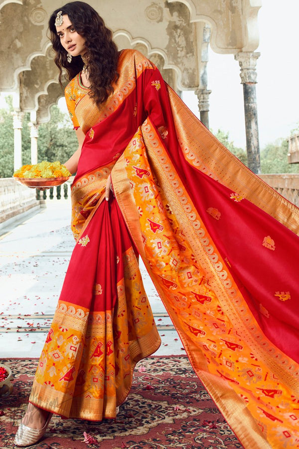 Lava Red and Dark Orange Banarasi Silk Saree