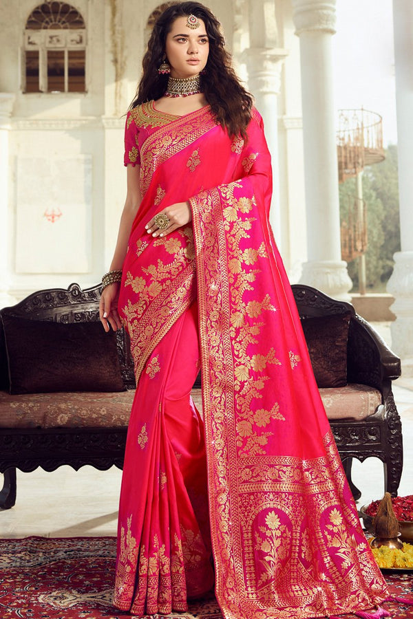 Hot Pink Banarasi Silk Saree
