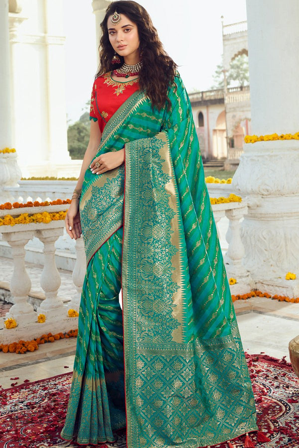 Dark Sea Green Teal and Red Banarasi Silk Saree
