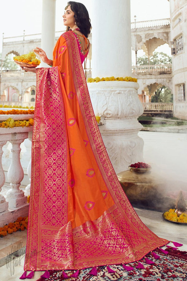 Pumpkin Orange and Deep Pink Banarasi Silk Saree