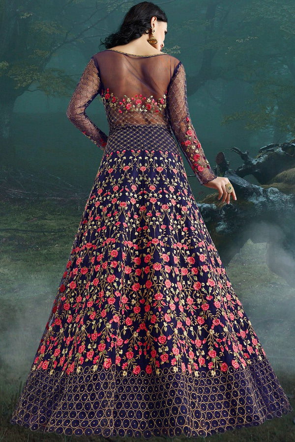 Blue Net and Bangalori Silk Wedding Gown
