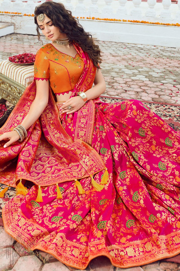 Pink Lemonade and Dark Orange Banarasi Silk Saree