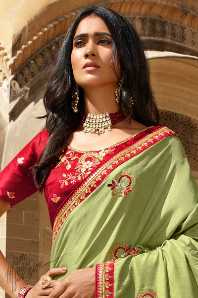 Parrot Green and Red Dola Silk Saree