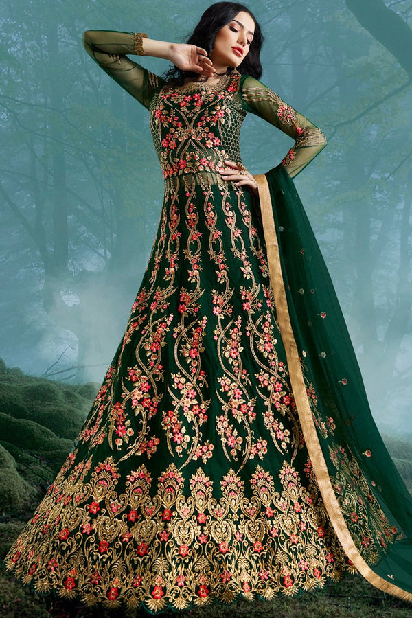 Green Net and Bangalori Silk Wedding Gown
