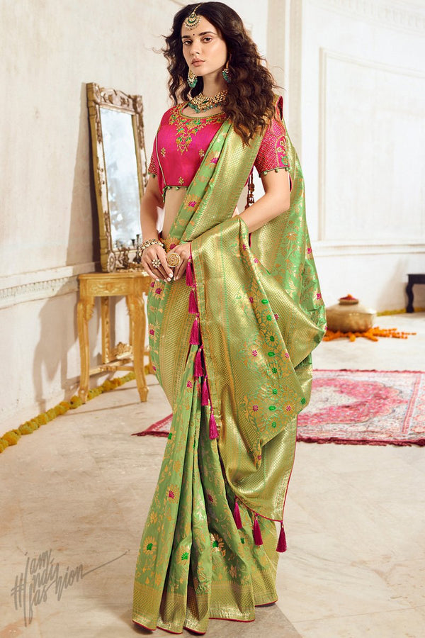 Dark Pista and Deep Pink Banarasi Silk Saree