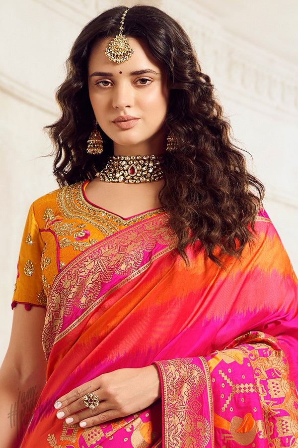 Orange Pink and Mustard Banarasi Silk Saree