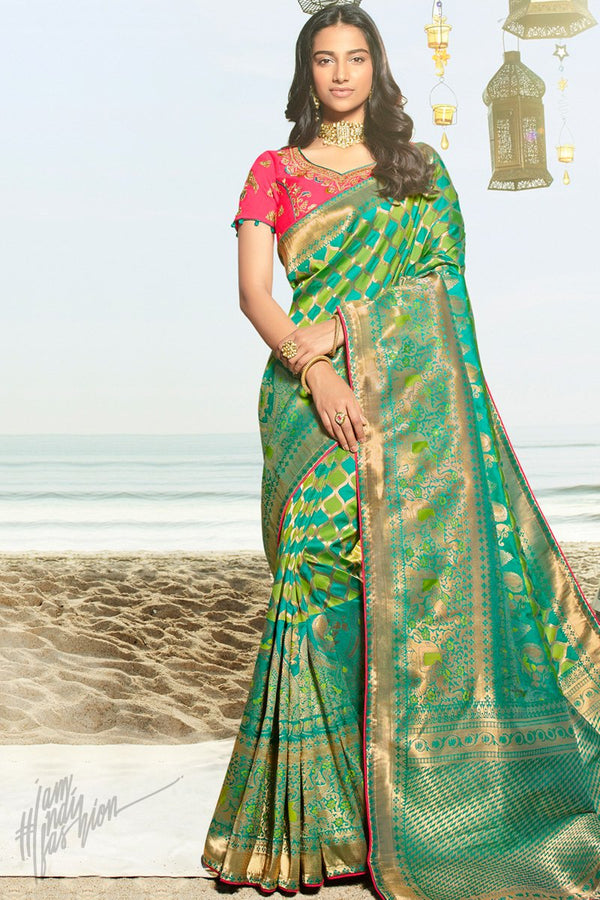 Lime Green Teal and Deep Pink Banarasi Silk Saree