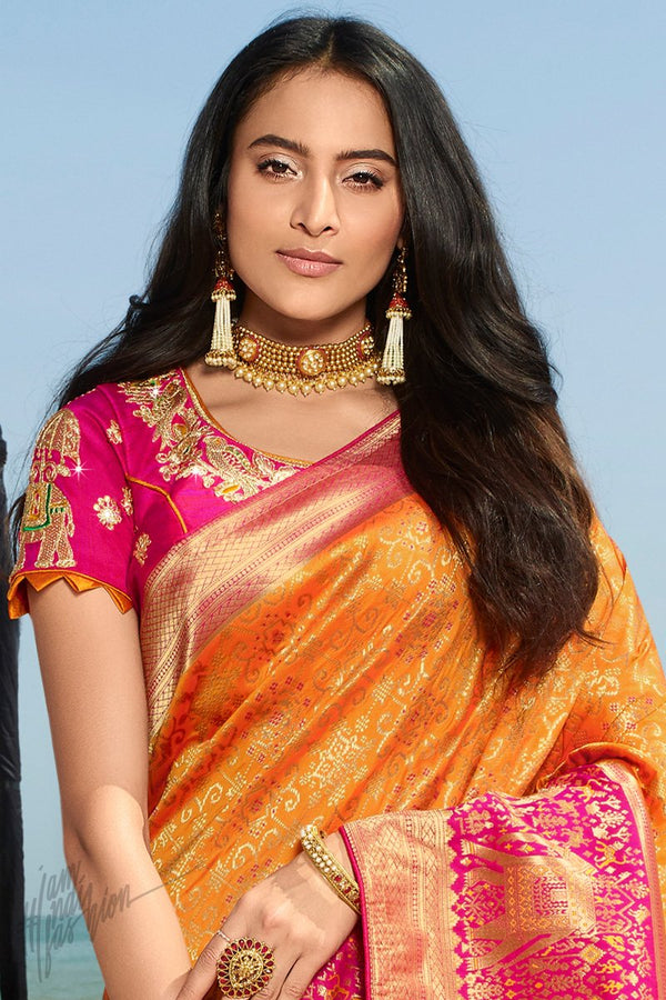 Dark Orange and Hot Pink Banarasi Silk Saree