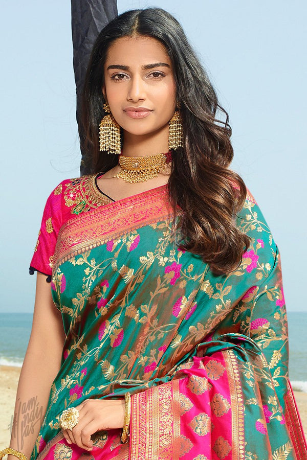 Teal and Hot Pink Banarasi Silk Saree