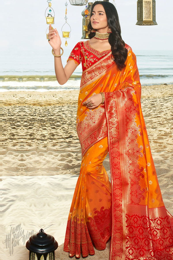 Dark Orange and Red Banarasi Silk Saree