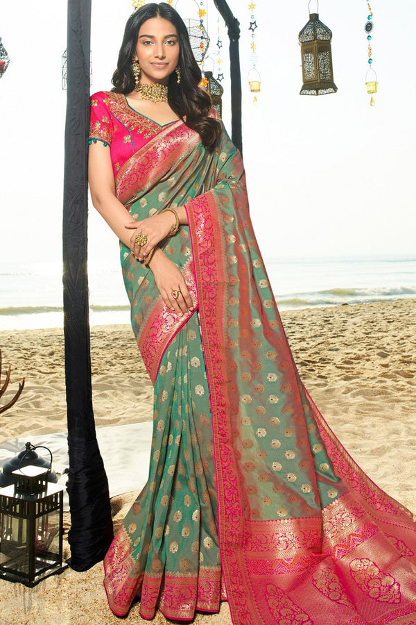 Deep Grayish Green and Primary Magenta Banarasi Silk Saree