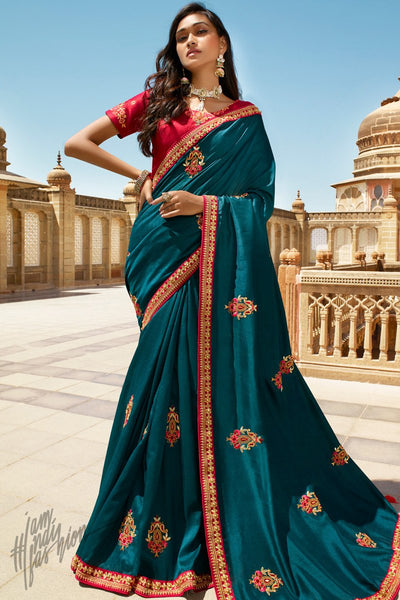 Peacock Blue and Red Dola Silk Saree