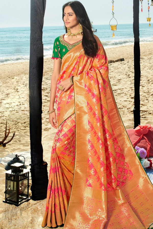 Dark Orange Hot Pink and Clover Green Banarasi Silk Saree
