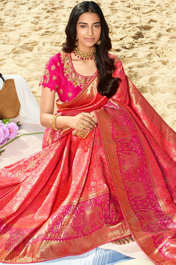 Scarlet Pink and Deep Magenta Banarasi Silk Saree