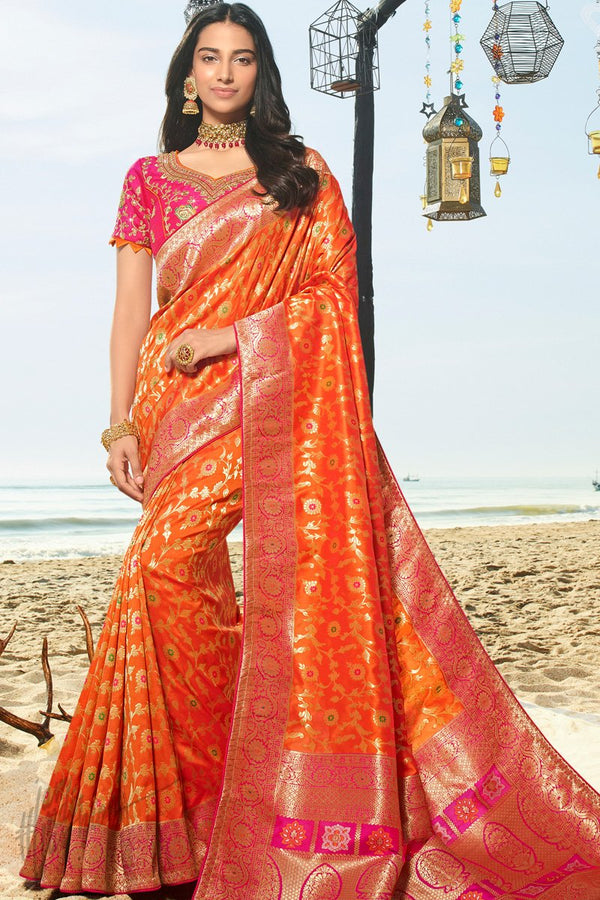 Mango Orange and Neon Pink Banarasi Silk Saree