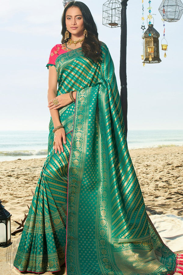 Medium Sea Green and Neon Pink Banarasi Silk Saree