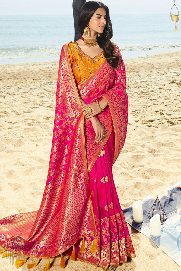 Violet Red and Dark Orange Banarasi Silk Saree