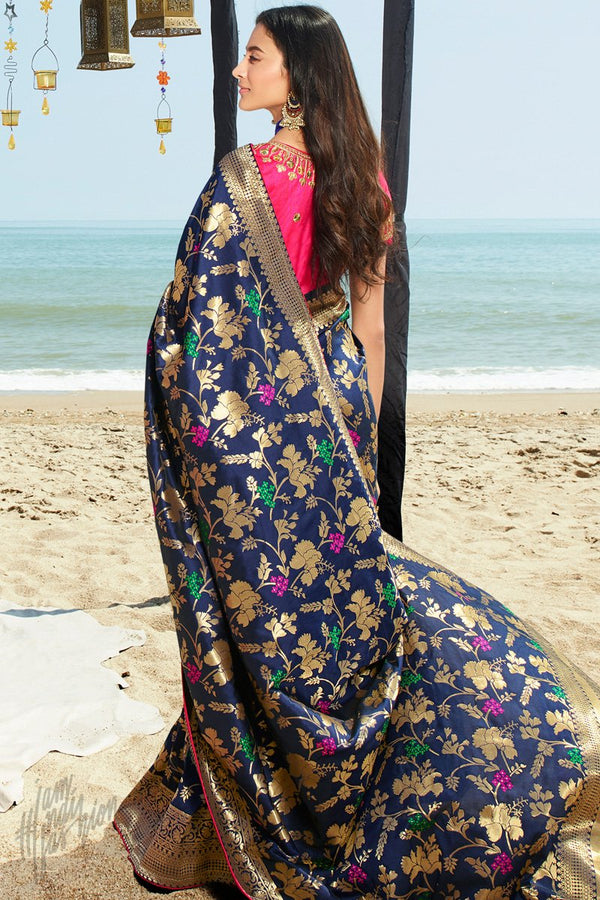 Midnight Blue and Neon Pink Banarasi Silk Saree