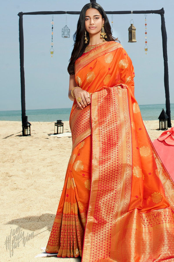 Mango Orange and Red Banarasi Silk Saree