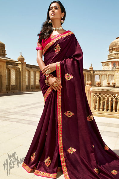 Wine and Fuchsia Pink Dola Silk Saree