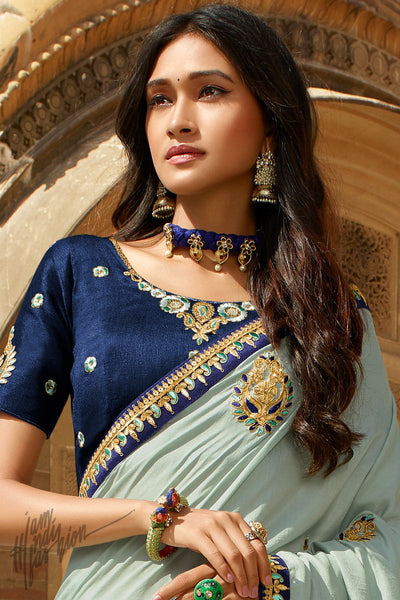 Light and Navy Blue Dola Silk Saree