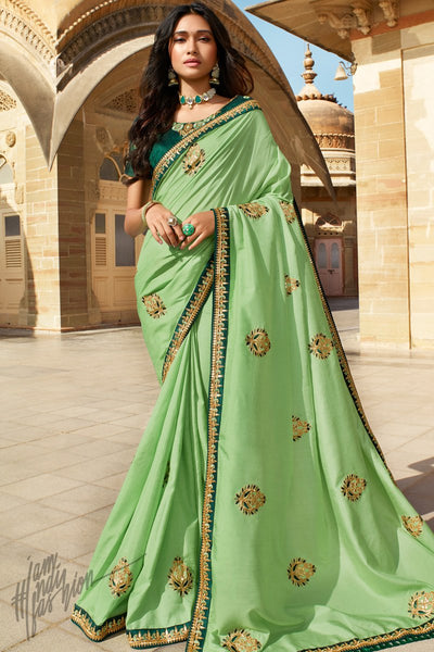 Mint and Forest Green Dola Silk Saree