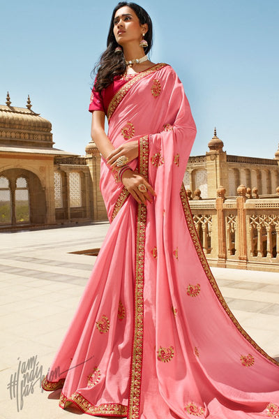 Pink and Red Dola Silk Saree