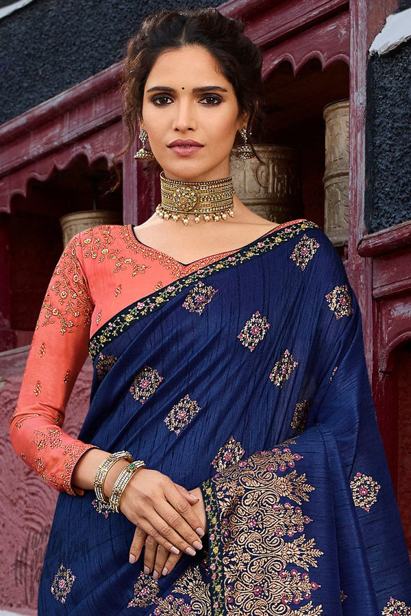 Navy Blue and Dark Peach Weaving Silk Saree