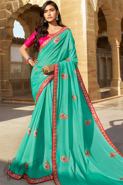 Turquoise and Fuchsia Pink Dola Silk Saree