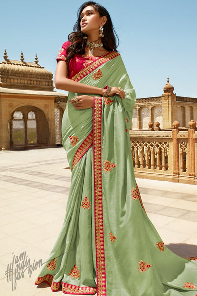 Leaf Green and Red Dola Silk Saree