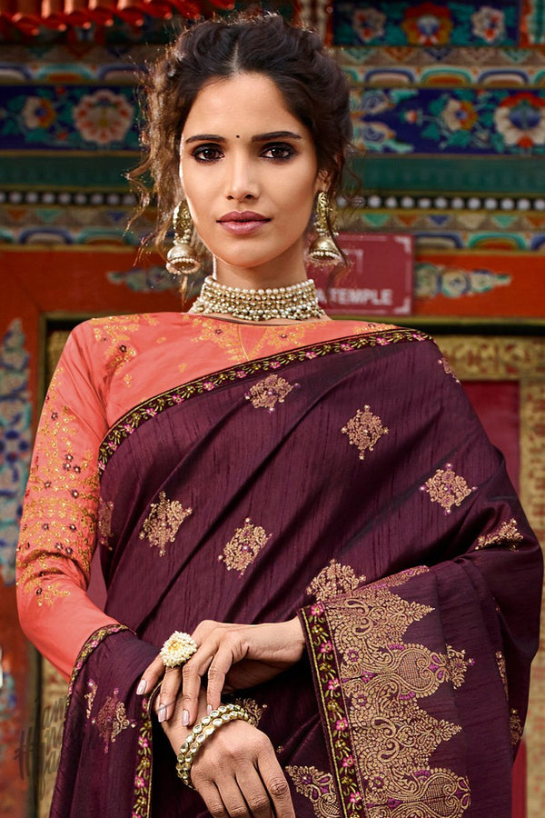 Wine and Dark Peach Weaving Silk Saree